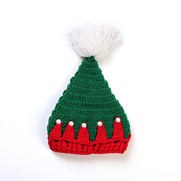 Chinese  Christmas Cap Soft Plush Santa Claus Beanies Hat For Baby Knitted Crochet With Ball Holiday Xmas Party Hat HH7-1555 manufacturers