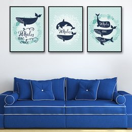A4 cArtoon online shopping - Living Room Wall Home Modern Decoration Print Cartoon Whale Deep Sea Painting Nordic Style Poster Art Animals A4 Canvas Pictures