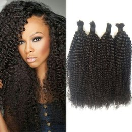 18 Inch Human Hair For NZ - Peruvian Kinky Curly Human Hair Bulk No Attachment 4 Bundles Natural Black Color for Black Women 4-30 inch FDshine