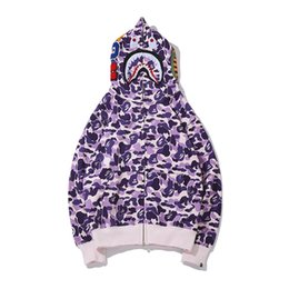 New Teenager Purple Camou Shark Head Print Fleece Felpe con cappuccio Zipper Maglione Uomo Donna Green Camo Shark Casual Hoodies allentato con cappuccio