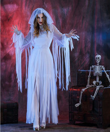 Wholesale Women White Mantilla Dress Party Halloween Bride Ghost Vampire Cosplay Dry Corpse Long Dress Cosplay Costumes