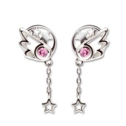 card captor cosplay NZ - Anime Card Captor Sakura Kinomoto Wing Ear stud Eardrop 925 Silver A Pair Cosplay Earring Gift Halloween Cospaly GIFT