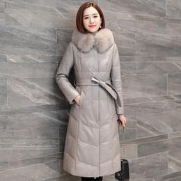 $enCountryForm.capitalKeyWord NZ - Outerwear 2018 New Winter Genuine Leather Down Jacket Women Long Fox Fur Collar Hooded parkas Slim Quality Sheep Skin jacket 736