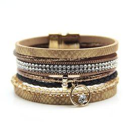 $enCountryForm.capitalKeyWord NZ - Handmade Braided Multilayer Rhinestone Infinity PU Leather Serpentine Bracelet Magnet Buckle Exotic Boho Charm Bracelets 7 colors