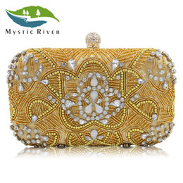 Mystic River New Design Beaded Clutch Women Evening Bag Ladies Wedding  Purses With Diamonds Gold Silver Girls Day Clutches a77cfff41b618