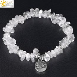 Crystal Chips NZ - CSJA Gravel Bracelet Irregular Natural Stone Beads White Crystal Chip Bracelets for Women Lotus Flower Pendant Handmade Jewelry Elastic F382