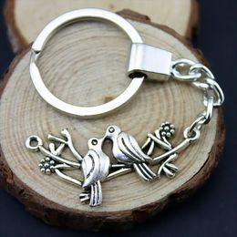 Metal Bird Key Chain Australia - 6 Pieces Key Chain Women Key Rings For Car Keychains With Charms Birds 45x20mm