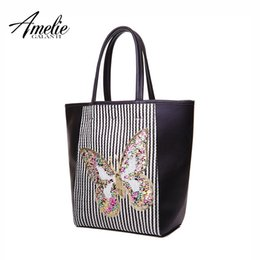 4357f31732 2019 Fashion AMELIE GALANTI Women Handbags Shoulder Bag Luxury Brand Bags  Lady Casual Tote Bag Butterfly Pattern Sequined Striped
