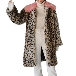 d2293d899f04 Women's Autumn Winter Luxury Faux Fur Coat Leopard Print Jackets Fur collar  Plus size Fur jackets Casaco Feminino Invierno Mujer