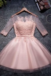 Discount modern mini black dress corset - 2019 Homecoming Dresses Sheer Neck Short Sleeves A-line Appliques Lace Satin Corset Custom Made Prom Dresses