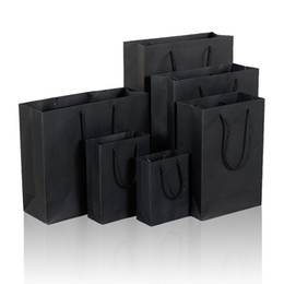 Paper Gift Bags Handles Christmas UK - 10 Size Black Paper Gift Bag With Handle Wedding Birthday Party Gift Christmas New Year Shopping Package Bags LZ1338