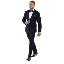 plus size navy blue suit Australia - Fashionable Groomsmen Peak Lapel Groom Tuxedos Navy Blue Men Suits Wedding Prom Best Man Blazer Bridegroom ( Jacket+Pants+Bow Tie ) M311