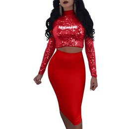 $enCountryForm.capitalKeyWord UK - Summer large size women's sexy sequins two-piece set Nightclub long-sleeved dress fashion lace stitching hollow high waist round neck A-line