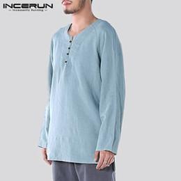 Plain Cotton Tee Shirts NZ - 2018 New Men Shirts Cotton Long Sleeve Autumn Tee Tops Male Casual Shirts Plain Solid Retro Button Loose Shirt Hombre Camisa 5XL