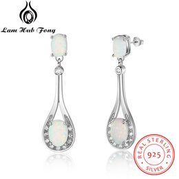 165644883382 Pendientes de gota de agua de plata de ley 925 con ovalo blanco ópalo cubic  zirconia elegante regalo para novia (Lam Hub Fong)