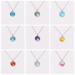 $enCountryForm.capitalKeyWord Australia - Silver Tone Moonglow Necklaces Mix 10 Styles Gemstone Glass Cabochon Setting Pendant Necklace Glow In Dark Moon Sweater Chain