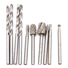 dremel rotary bits Canada - 11pcs Dremel Rotary Tools Drill Dedicated Locator HSS Wood Milling Burrs 3mm HSS Drill Bit Woodworking Abrasive Tools