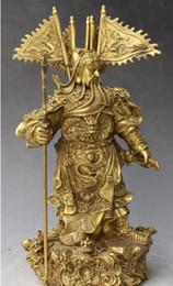 "$enCountryForm.capitalKeyWord NZ - WBY 528 ++++++12"" Chinese Bronze Carving Dragon Guan Gong Yu Warrior God Hold Knife Statue"