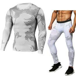 c6a6d63d1da74 Compression Shirt Tactical Mma Rashgard Union Suit 2017 Men 'S Long Sleeve  T -Shirt +Tights For Men Set Pants Fitness Clothing