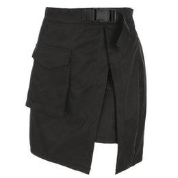 Опт HEYounGIRL Harajuku грузовые мини-юбки женские сексуальные высокой талией мини-юбка лето повседневная трапеция короткие юбки Сплит карманы мода