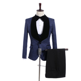 men wedding prom suits groom tuxedos UK - Handsome Groomsmen Navy Blue Pattern Groom Tuxedos Shawl Black Lapel Men Suits Side Vent Wedding Prom Best Man( Jacket+Pants+Vest+Tie ) K926