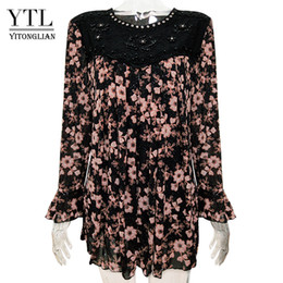 blouse flare sleeves Australia - YTL Women Autumn Plus Size Vintage Floral Beaded Shining Loose Tunic Top Flare Long Sleeve Oversize Blouse Shirts M-8XL H036