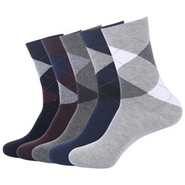 $enCountryForm.capitalKeyWord NZ - US7-10 high quality autumn winter men business cotton socks male diamond lattice long socks 5pairs lot