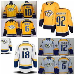 d760f9e3b 2018 Nashville Predators 6 Shea Weber 12 Mike Fisher 18 James Neal 92  Johansen White Yellow Stitched Ice Hockey Jerseys nashville predators  jerseys shea ...