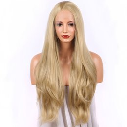 $enCountryForm.capitalKeyWord NZ - Sweetheart Long Wavy Blonde Wigs for Women Glueless Synthetic Lace Front Wigs Heat Resistant Fiber Hair Cosplay Wigs for Women Free Part