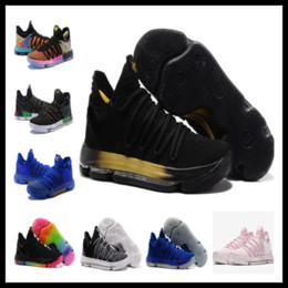 low priced 66a33 9fa4c Chinese Hot sales KD 10 Black gold men women kids shoes Kevin Durant  Basketball shoes free