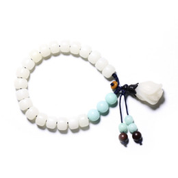 Discount orchid pendant - Chinese Hand Carved Orchid Flower Pendant White Bodhi Root Bucket Beads Amazonite Stone Bracelet Beautiful Women Bracele