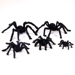 black plush spiders Australia - 1pc novelty party spiders halloween terror halloween prop haunted house bar horrific decoration soft plush black spider Toy