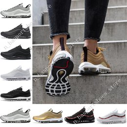 73ea0ab4f6c44 cushion sneakers bounce Top quality 97 97s OG QS Metallic Gold Silver  Bullet Triple Black ALL White 3M PRM running shoes for men sport shoes