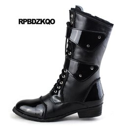 mens italian leather boots 2019 - Army Lace Up European Mid Calf Chunky Zipper Combat Shoes Italian Waterproof Fall Black Mens Patent Leather Boots 2018 d