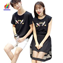 $enCountryForm.capitalKeyWord NZ - Korean Couple Clothes Lovers Women Fashion Summer Short Sleeve Casual Dresses Print Cute Sweet Girls Cotton Patchwork Mesh Dress