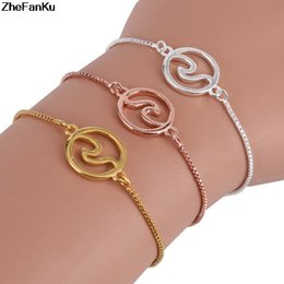 Delicate silver bracelets for women online shopping - 2018 Fashion Delicate Sea Wave Bracelets For Women And Men Round Charms Surfer Jewelry Drop Shipping