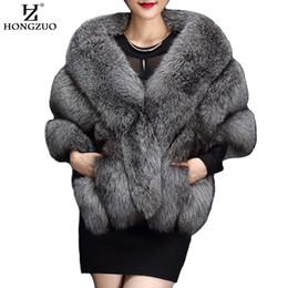 furry vest women 2019 - HONGZUO Winter gray fox faux fur coat women Warm fashion black synthetic fur cape coat White thick plush furry shawel 20