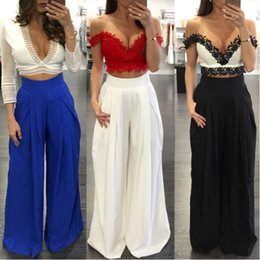 $enCountryForm.capitalKeyWord Canada - 2018 new Pleated Wide Leg Pants High Waist Wide Leg Pants Trousers For Women Bohemian Chiffon Pants Pantalon Femme Mujer