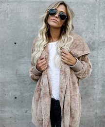 Discount slim double zipper hoodies jackets - 5XL Women Sherpa Faux Fur Cardigan Hoodies Long Double Side Coat Tops Fall Winter Keep Warm Soft Plush Sweatshirts Hoode