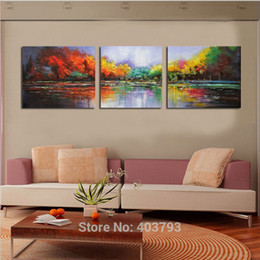 modern floral oil paintings Canada - Wall Art Hand Painted Oil Painting Modern Landscape Wall Art on Canvas Abstract Lake Scenery For Home Decoration Unframed