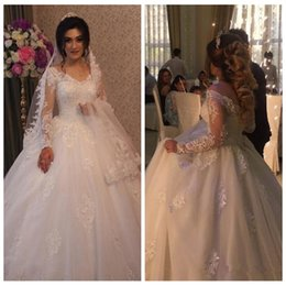 $enCountryForm.capitalKeyWord NZ - Elegant Lace Ball Gown Wedding Dresses 2018 Sexy V Neck Sheer Long Sleeves Appliques Beaded Crystals Vestido De Noiva Bridal Gowns