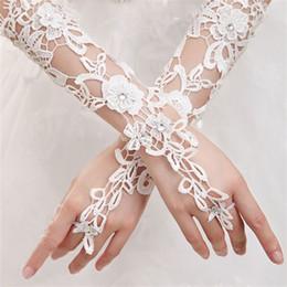 White summer gloves online shopping - Bride Glove Wedding Decor Dress Accessories Spring Summer Female Girls Frenulum Adjustable White Flower Long Gloves Fashion an bb