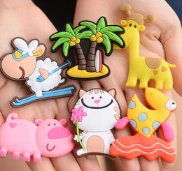 Discount cute animal magnets - Creative Refrigerator Magnet Cartoon Retro Clock Super Strong Magnetic Paste Magnet Cute Animal Soft PVC Fridge Paste