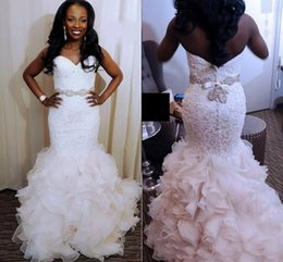 Lace Wedding Dresses Australia - 2018 Elegant Mermaid Wedding Dresses Sweetheart Full Lace Appliques Beaded Sash Crystal Backless Long Ruffles Tiered African Bridal Gowns