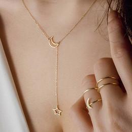 Venta al por mayor de Colgante de moda Collar Gargantilla Luna Estrella de Oro Plata Color de Aleación Collar de Cadena Collar Para Las Mujeres Joyería Del Partido