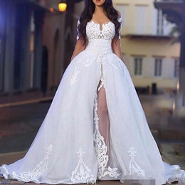Wholesale off white lace summer dress for sale – plus size 2019 Elegant Wedding Dresses with Overskirt Off the Shoulder Long Sleeve Lace Bridal Gowns with Detachable Train