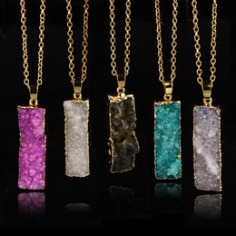 Pendant Rectangle Stone NZ - Gilded rectangle irregular natural stone necklaces in Europe and America