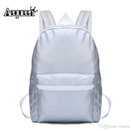 Wholesale- AEQUEEN Women Backpack For Teenage Girls Silver PU Leather  Backpack School Bags Rucksack Travel Pack Fashion B 094c32e728c2c