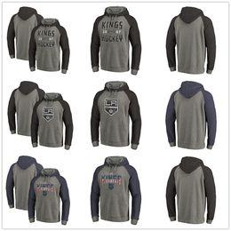 Men s Los Angeles Kings Fanatics Branded Heathered Gray Slant Strike  Freedom Team Distressed Antique Stack Tri-Blend Raglan Pullover Hoodies e1d0e6cda
