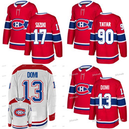 Max Domi  13 Nick Suzuki  88 Tomas Tatar  90 Montreal Canadiens 2018-19  Season Double Stiched Hockey Jersey Men Women Youth Customizable a0c4bd020